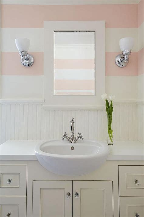 striped wallpaper bathroom kids bathroom with pink striped walls transitional