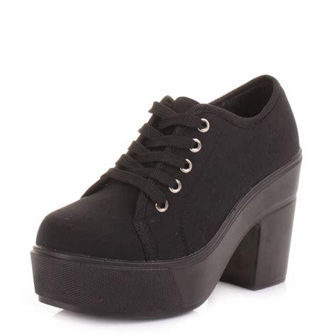 Chunky Heel Lace Up Shoes womens black canvas platform chunky heel lace up fashion