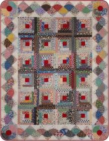 log cabin quilt with interesting border quilting