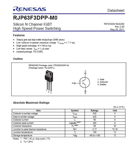 transistor igbt rjp30e2 transistor rjp30e2 datasheet 28 images rjp63f3 silicon n channel igbt high speed switching