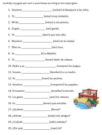 printable english worksheets verb to be free spanish verb conjugation sentences worksheets packet