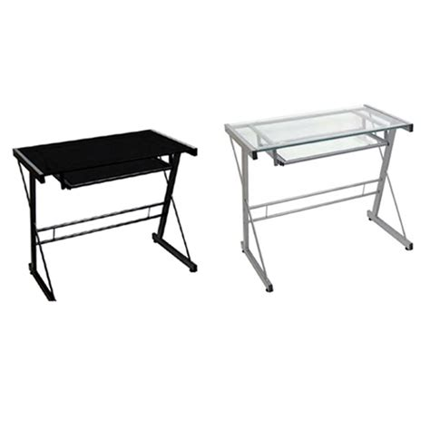 walker edison imperial glass desk black or silver