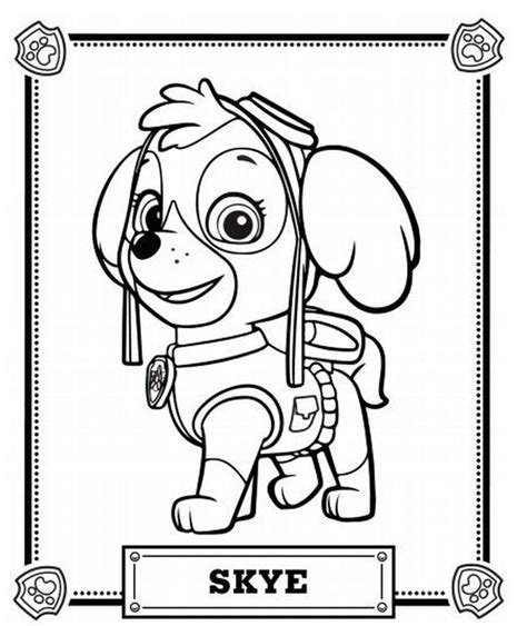 paw patrol coloring pages new pup skye the eye on the sky cute pup from paw patrol coloring