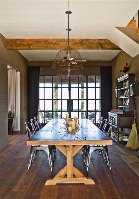 Trestle table in a farmhouse style dining room   Decoist
