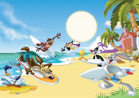 Looney Tunes Nursery Decor Room Wallpaper Lonely Tunes Characters On The Beech Turners Room Pinterest