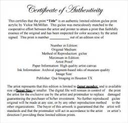certificate of authenticity photography template sle certificate of authenticity template 9 free