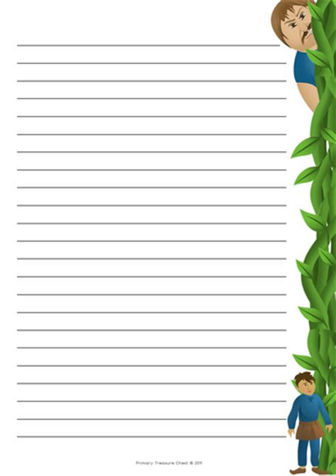 and the beanstalk writing template and the beanstalk themed border by