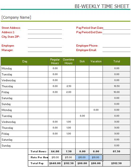 biweekly paid lunch printable time sheet free printable bi weekly timesheet template for excel 174