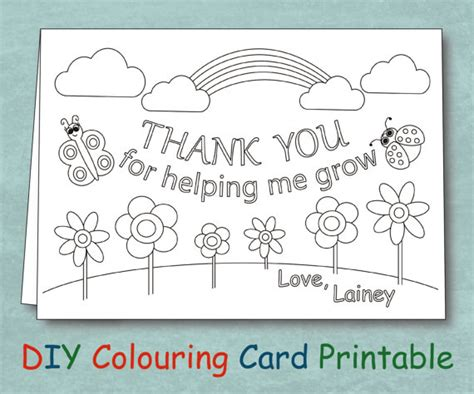 printable thank you cards for sunday school teachers personalized coloring teacher thank you card by