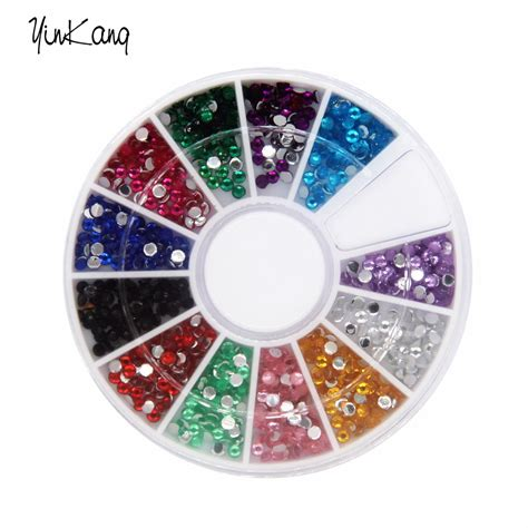 Acrylic Tebal 2 Mm 2016 new arrived 3d nail decorations 12 colors acrylic shapes 2mm rhinestones nail