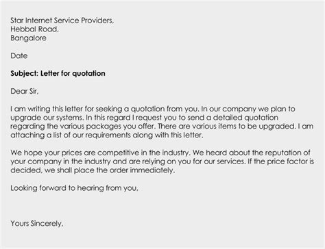 business quotation letter write sample letters