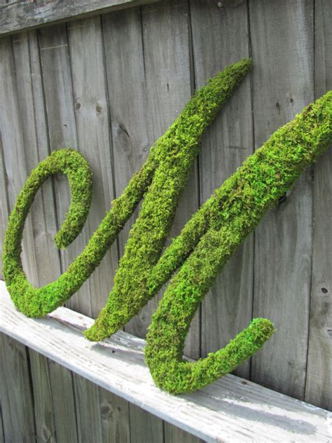 large moss covered letter m rustic wedding sign by