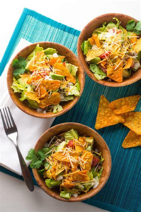 Taco Salad with Nacho Cheese Tortilla Chips   Wok & Skillet