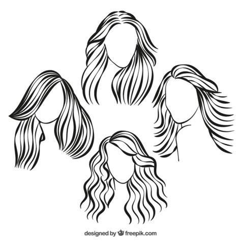 sketchy hairstyles vector free download