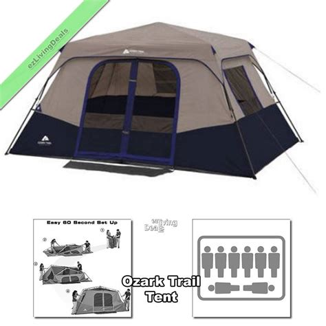 Ozark Trail Instant Cabin Tent Reviews by Ozark Trail Tent 8 Person 2 Rm 13 X9 Family Instant Cabin