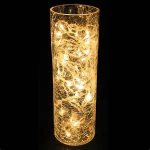 warm white microlight crackle glass vase