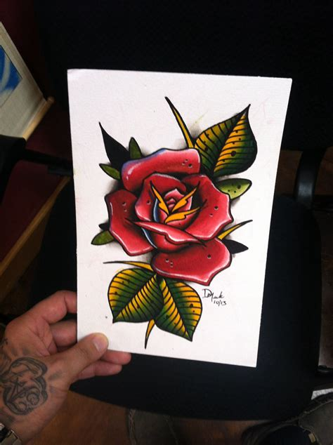 rose flash tattoo 6x9 original spitshade watercolor flash