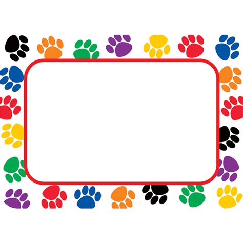 colorful names colorful paw prints name tags labels tcr5168