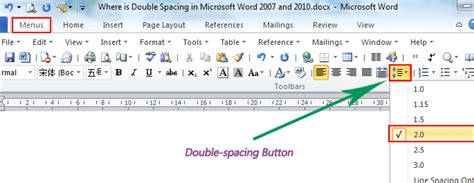 how to use spaces where is the double spacing in microsoft word 2007 2010
