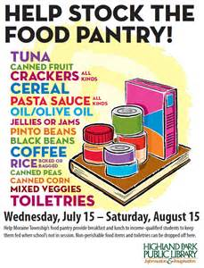 donate non perishable food items at the library highland