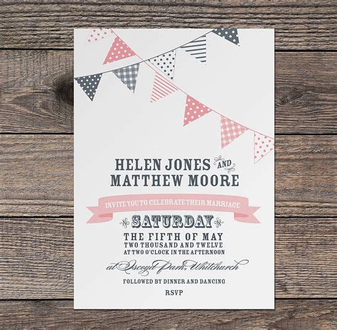 bunting wedding invitation by project pretty notonthehighstreet