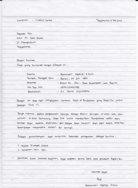 Lamaran Kemendikbud Tulis Tangan Kertas by 27 Contoh Surat Lamaran Kerja Yang Baik Dan Benar Umum