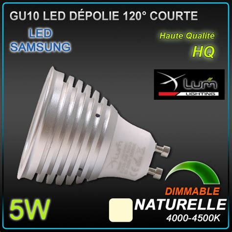 eclairage led dimmable spot led gu10 samsung 5w 4000 176 k dimmable eclairage led