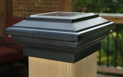 solar light deck post caps aries solar post cap light by deck lighting