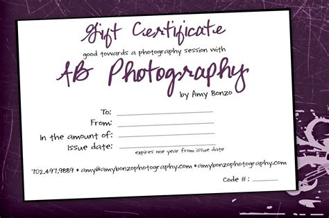 printable gift certificates for photography photographer school choose the best