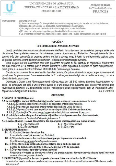 preguntas de si o no en frances examen de selectividad franc 233 s 2 andaluc 237 a convocatoria