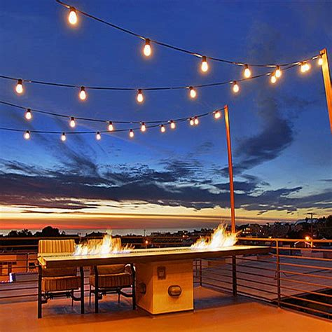 Commercial Patio Lights 15 Warm White Suspended Led S14 Heavy Duty String Light Sets On Black Wire Novelty Lights Inc