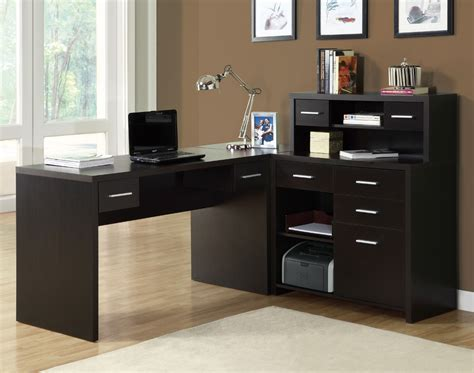 Office Desks Home Monarch Specialties 7018 L Shaped Home Office Desk In Cappuccino Hollow Beyond Stores