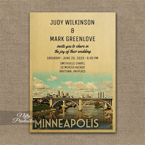 Wedding Invitations Minneapolis by Minneapolis Wedding Invitation Printed Nifty Printables