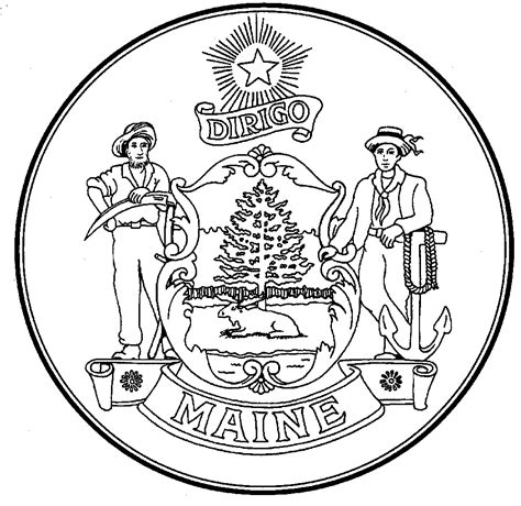 Maine Secretary Of State Kids Fun Games Symbols Maine State Flag Coloring Page