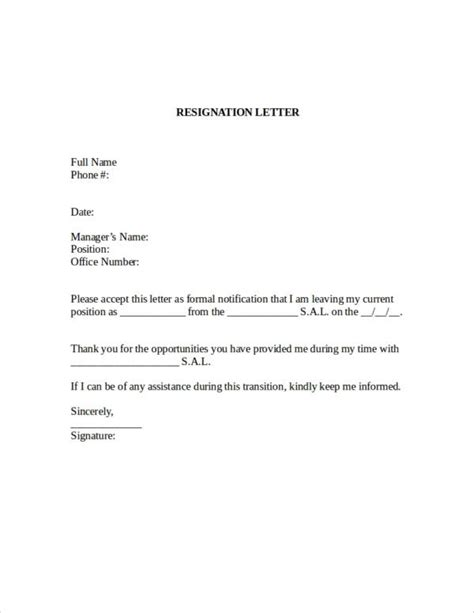 company resignation letter samples ms word