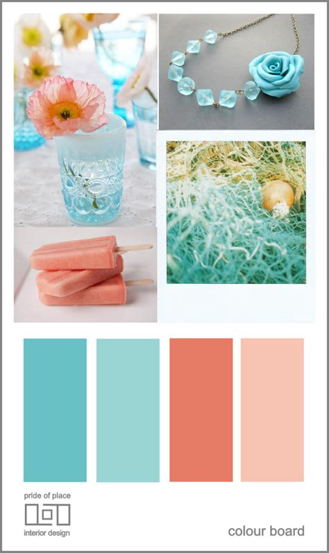 pride of place colour board teal and coral