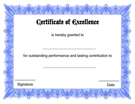 Formal Free Award Certificate Template with Blue Border