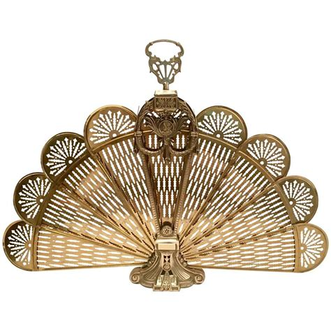 Frenchl Brass And Bronze Mount Quot Peackock Fan Quot Fireplace Brass Fan Fireplace Screen