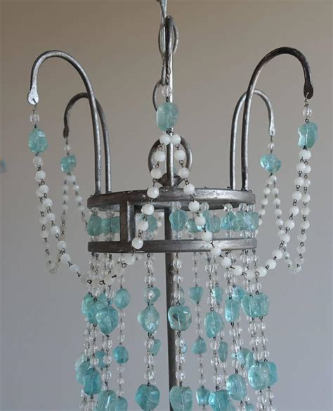 Sea Glass Chandeliers Six Light Silvered Sea Glass Chandelier At 1stdibs