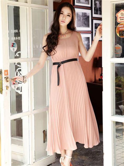 Dress Yasa Pink Dres Fashion Terbaru sale color pleated chiffon sleeveless maxi dress
