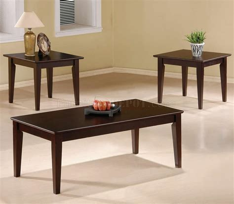 Modern Coffee Table Set Cappuccino Finish Modern 3pc Coffee Table Set