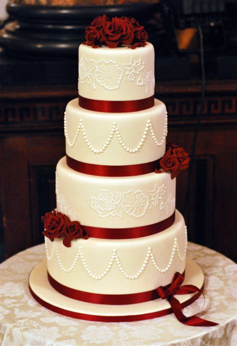 Hochzeitstorte Rot by Lace Wedding Cake Archives Cakery