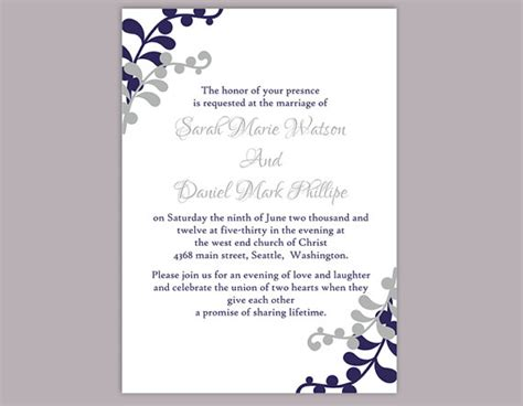 invitation templates for word diy wedding invitation template editable word file instant