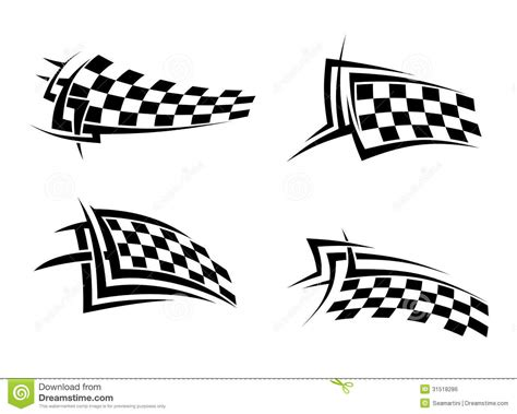 checkered tattoo designs tribal signs with checkered flags stock vector image