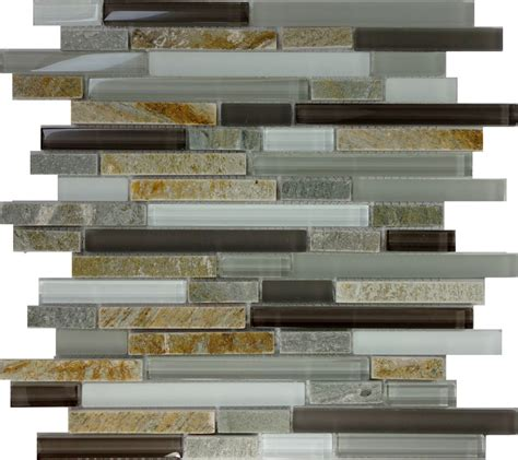 sample gray brown glass natural stone linear glass mosaic