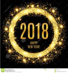 2018 happy new year glowing gold background stock vector