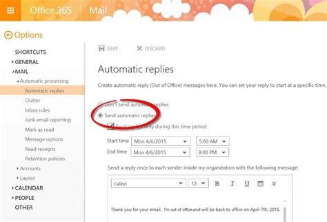 Office 365 Portal Automatic Replies ว ธ ต งค า Out Of Office บน Office 365 Technointrend