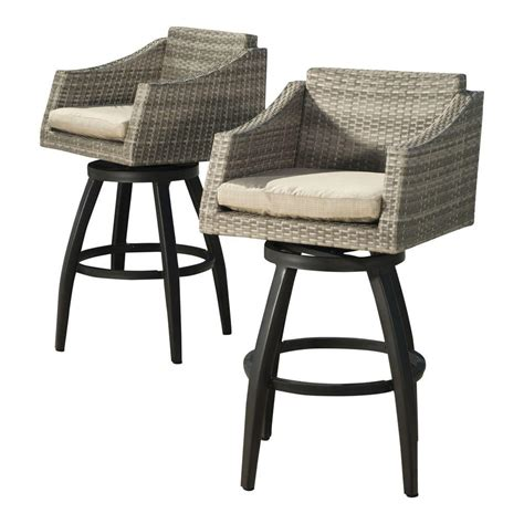 Patio Bar Chair Rst Brands Cannes All Weather Wicker Motion Patio Bar Stool With Slate Grey Cushions 2 Pack Op