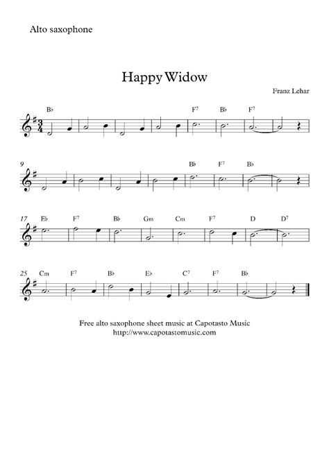 printable happy birthday sheet music alto sax free alto saxophone sheet music happy widow