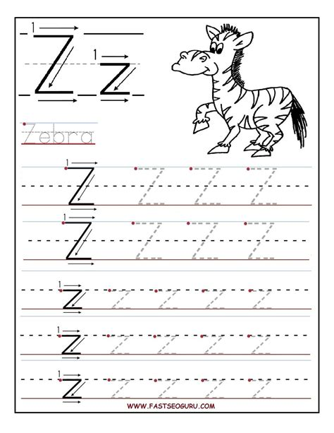 printable alphabet writing printable letter z tracing worksheets for preschool kids